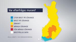 Grafik över efterfrågan av murare. Mest efterfrågan är det i södra Finland. Grafiken baserar sig på Arbets- och näringsbyråernas uppgifter över arbetssökande. Mer exakta uppgifter om hur behovet ser ut i en specifik stad finns på www.ammattibarometri.fi.