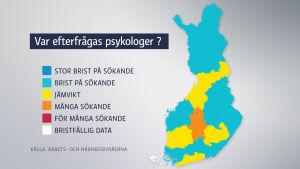 Grafik över efterfrågan av psykologer. Grafiken baserar sig på Arbets- och näringsbyråernas uppgifter över arbetssökande. Mer exakta uppgifter om hur behovet ser ut i en specifik stad finns på www.ammattibarometri.fi.