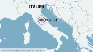 Karta över Italien.
