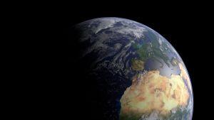 En renderad bild av jorden gjord i programmet Blender
