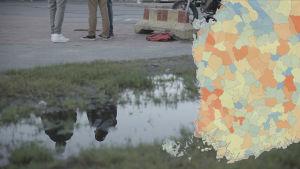 Bildmontage, uttråkade ungdomar vid vattenpöl och karta över ungdomsbrottslighet.