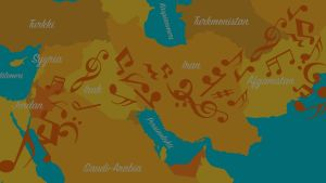 Artikkelin kuvituskuva, maiden nimiä ja nuotteja.