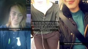 Tre av Radio X3M.s lyssnare. Skärmdumpar från Snapchat.