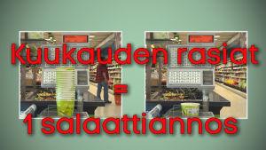 22 salaattirasiaa painaa yhtä paljon kuin 1 salaattiannos