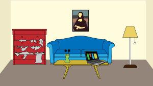 Huoneessa sohva, lipasto, pöytä ja lamppu, grafiikka.