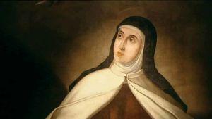 Pyhä Teresa eli Ávilan Teresa muotokuvamaalauksessa.