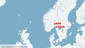 Karta med Halden och Oslo
