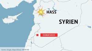 Karta över Syrien med byn Hass i norr.