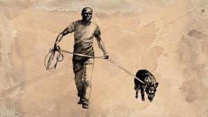 Mies taluttaa koiraa, piirustus