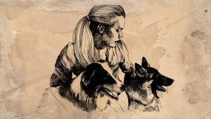 Nainen ja koirat, piirustus