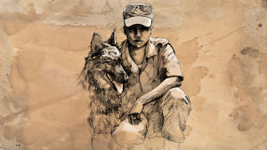Nainen ja koira, piirustus