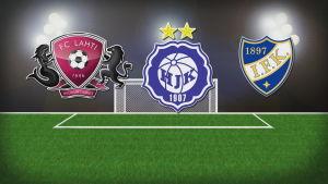 FC Lahden, HIFK:n ja HJK:n logoja esittävä grafiikka.