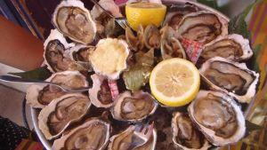 Avattuja ostereita ja sitruunaa tarjoilulautasella.