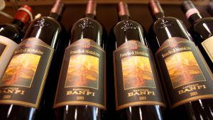 Brunello di Montalcino -viinipulloja rivissä.