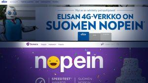 Reklam. Både Sonera och Elisa hävdar att deras 4G-nät är snabbast.