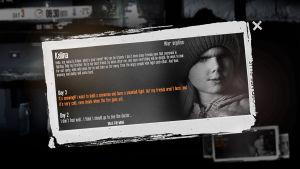 Stillbild från spelet This war of mine där vi ser ett foto på en liten flicka och en text som beskriver henne.