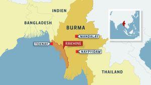 Karta över Burma.