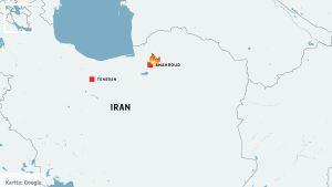 En karta över Iran där städerna Teheran och Shahroud är utmärkta.