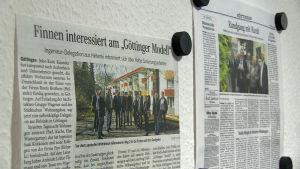 """Tysk artikel med rubrik """"Finländare intresserade av Göttinger-modellen"""""""