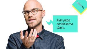 Heikki Soini ja puhekupla: Äidit pitää saada kotoa töihin.