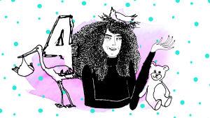 Graafisessa kuvassa kiharapäinen nainen, haikara, nalle ja numero neljä.