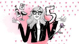 Piirretyssä kuvassa pitkähiuksinen nainen, viiniä ja numero viisi.