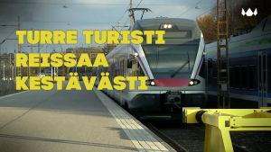 Juna saapuu Helsingin asemalle.