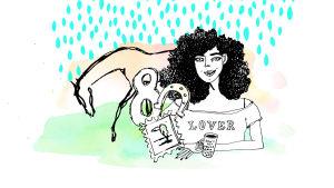 Piirretyssä kuvassa kiharapäinen nainen, hevonen ja numero kahdeksan.