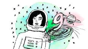 Piirretyssä kuvassa nainen avaruuspuvussa ja numero yhdeksän.