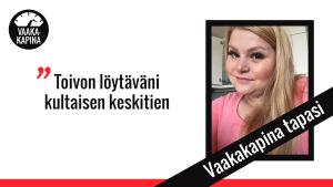 Mari Kononen ja sitaattiteksti: Toivon löytäväni kultaisen keskitien