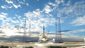 En Falcon 9-raket som lyfter.