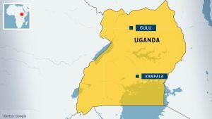 En karta över Uganda, med huvudstaden Kampala samt orten Gulu i norr utmärkta med blå banners.