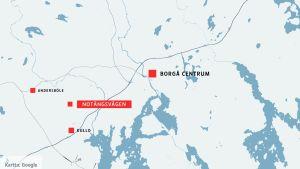 Karta som visar var Notängsvägen ligger.