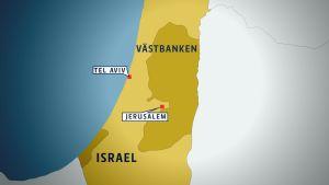 En karta som visar Israel, Tel Aviv och Jerusalem