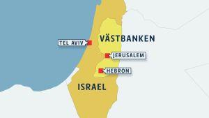 Karta med Hebron.