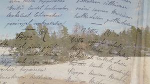 luminen maisema ja vanhojen runolaulujen tekstiä päällekkäiskuvassa