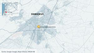 Karta över Syriens huvudstad Damaskus.