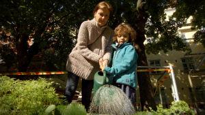 Nainen kastelee kastelukannulla pojan kanssa kanssa kerrostalopihalla laatikkoviljelmää.
