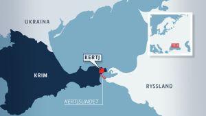 Karta över Krim och Kertjsundet.