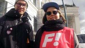 Oskar Yrjölä och Vilma Virtanen ställer upp för feministerna i kommunalvalet 2017.