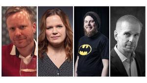 Puoli seitsemän vieraat viikolla 14 (2017): Sami Minkkinen, Selma Vilhunen, Iikka Kivi ja Jukka Puotila.
