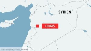 Kartan visar att Homs ligger nära gränsen till Libanon i västra Syrien.