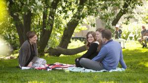Maria Sundblom Lindberg pratar med Johannes, Eva och Maria Snellman i en park.