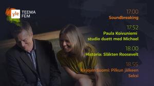 Yle Teema Fem programtablå, bild på Mårten Svartström och Sonja Kailassaari