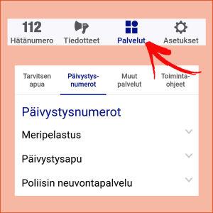 Puhelinsovellus 112 suomi näytttää myös muita päivistysnumeroita.