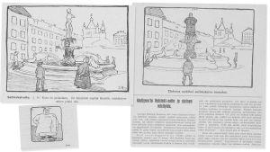 Lehdistön pilakuvia Havis Amanda -patsasta krisoineesta naisasialiikkeen Lucina Hagmanista vuodelta 1908.
