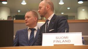 Sampo Terho deltog i sitt första möte i Bryssel som Europaminister.