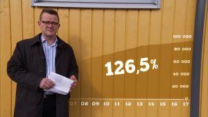 Puoli seitsemän toimittaja Matti Toivonen lautaseinän edessä, jossa grafiikka suomalaisten velkaantumisasteesta keväällä 2017