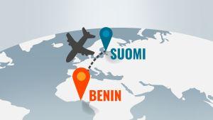 Grafiikka Beninin sijainnista.