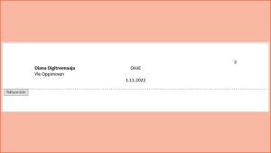 Näyttökuva Google Docs dokumentista, vaaleanpunaisessa puhekuplassa lukee: Ylätunnisteella saat asiakirjan tiedot kaikille sivuille. Sen voi tehdä tuplaklikkaamalla yläosaa.